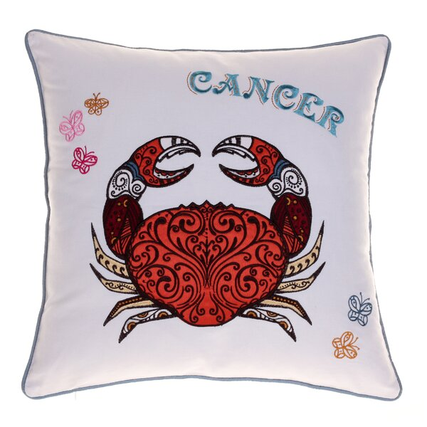 Horoscope Cancer 100% Cotton Throw Pillow by 14 Karat Home Inc.